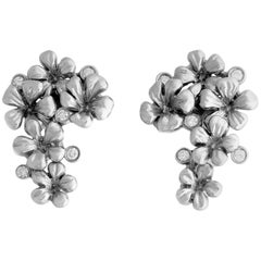 White Gold Plated Blossom Clip-On Earrings with 0.3 Carat Diamonds by the Artist