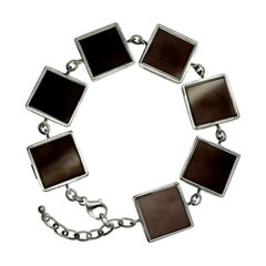 White Gold-Plated Sterling Silver Art Deco Ink Bracelet with Dark Smoky Quartzes