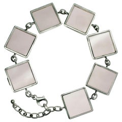 White Gold-Plated Sterling Silver Art Deco Ink Link Bracelet with Smoky Quartzes