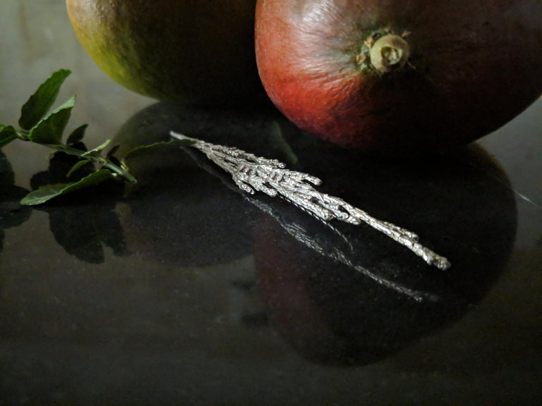 Men's White Gold-Plated Sterling Silver Men Contemporary Juniper Brooch with Diamonds For Sale