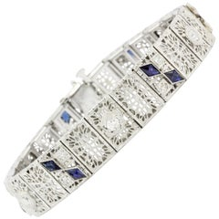 White Gold & Platinum Sapphire and .75 CTW Diamond Art Deco Filigree Bracelet