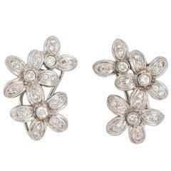 White Gold Plumeria Flower Bouquet Diamond Cluster Earrings