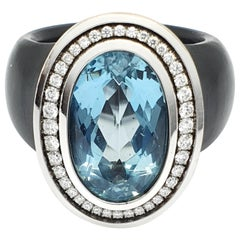 White Gold-Polyacetal Black Ring with 5.26 Carat Aquamarine and Diamonds