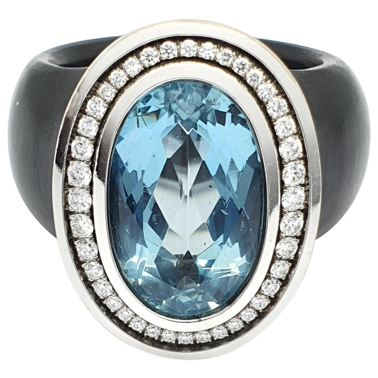 White Gold-Polyacetal Black Ring with 5.26 Carat Aquamarine and Diamonds For Sale