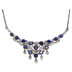 White Gold Prom Necklace with Diamonds and Sapphires