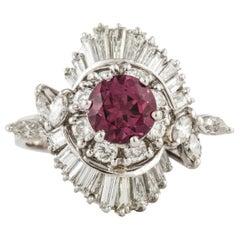 White Gold Rhodolite Garnet Diamond Ring