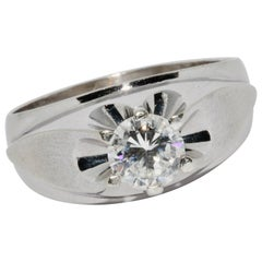 White Gold Ring Set with 1.1 Carat White Solitaire Diamond
