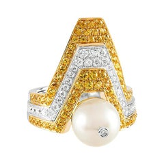 Ananya White Gold Ring Set with a Pearl, Yellow Sapphires and Diamonds