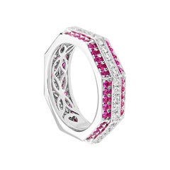 Ananya White Gold Ring Set with Pink Sapphires and Diamonds