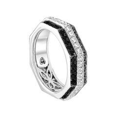 Ananya White Gold Ring Set with White and Black Diamonds