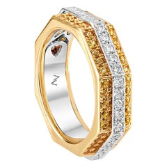 Ananya White Gold Ring Set with Yellow Sapphires and Diamonds