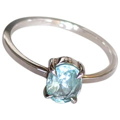 White Gold Ring with Oval Paraiba Tourmaline