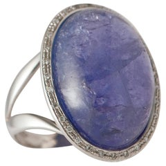 White Gold Ring with Tanzanite, Ornamented with Diamonds