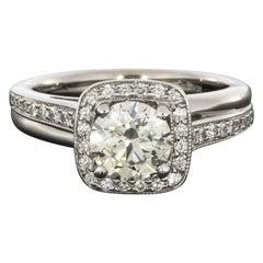 White Gold Round Diamond Bypass Halo Engagement Ring