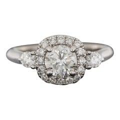White Gold 1.50 Carat Round Diamond Halo 3 Stone Engagement Ring