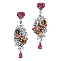 "White Gold Round Diamonds Round Ruby Earrings ""Ribbon"""
