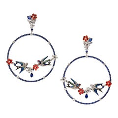 "White Gold Round Diamonds Round Sapphire Long Earrings ""Swallows"""