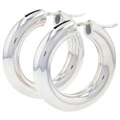 White Gold Round Hoop Earrings, 18 Karat Pierced Snap Closures