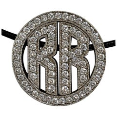 White Gold Round Monogram Pendant with the Letters RR in Diamonds
