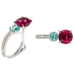 White Gold Rubellite and Paraiba Tourmaline Ring