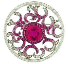 White Gold, Rubellite, Ruby, Pink Sapphire Diamond Pendant/Brooch
