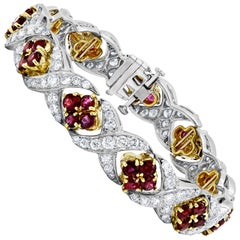 White Gold Ruby and Diamond Bracelet