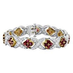 White Gold Ruby and Diamond Bracelet