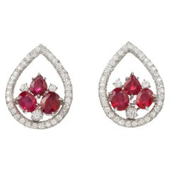 Ruby Diamond White Gold Clip-On Earrings
