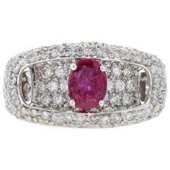 White Gold Ruby and Diamond Halo Ring, 18 Karat Oval Cut 2.02 Carat Euro Shank