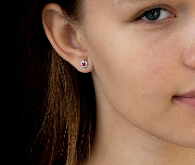 14k white gold ruby and diamond earrings  Ruby weight 0.33 carat Diamond weighing 0.27 carat New Earrings Width 0.25