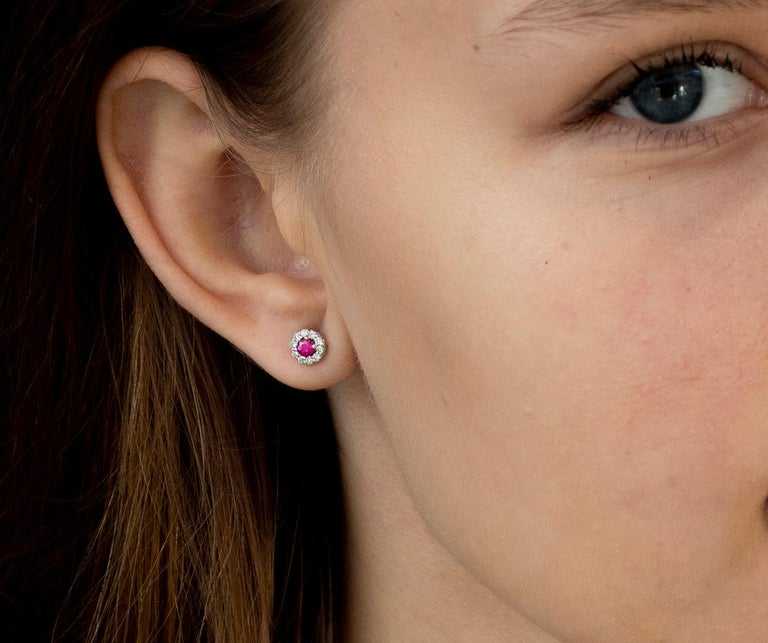Contemporary White Gold Ruby Diamond Earrings Weighing 0.60 Carat For Sale