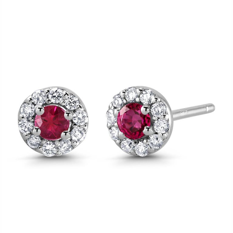 Round Cut White Gold Ruby Diamond Earrings Weighing 0.60 Carat For Sale