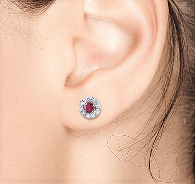 White Gold Ruby Diamond Earrings Weighing 0.60 Carat In New Condition For Sale In New York, NY