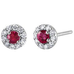 White Gold Ruby Diamond Earrings Weighing 0.60 Carat