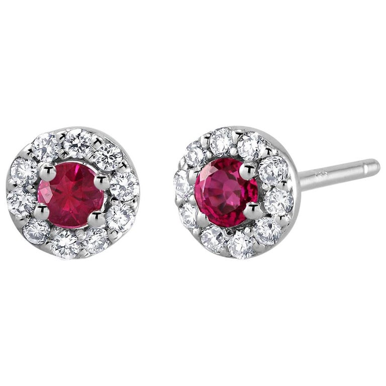 White Gold Ruby Diamond Earrings Weighing 0.60 Carat For Sale