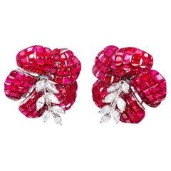 White Gold Ruby Diamond Flower Stud Earrings