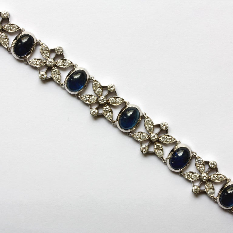 Art Deco White Gold Sapphire and Diamond Bracelet For Sale