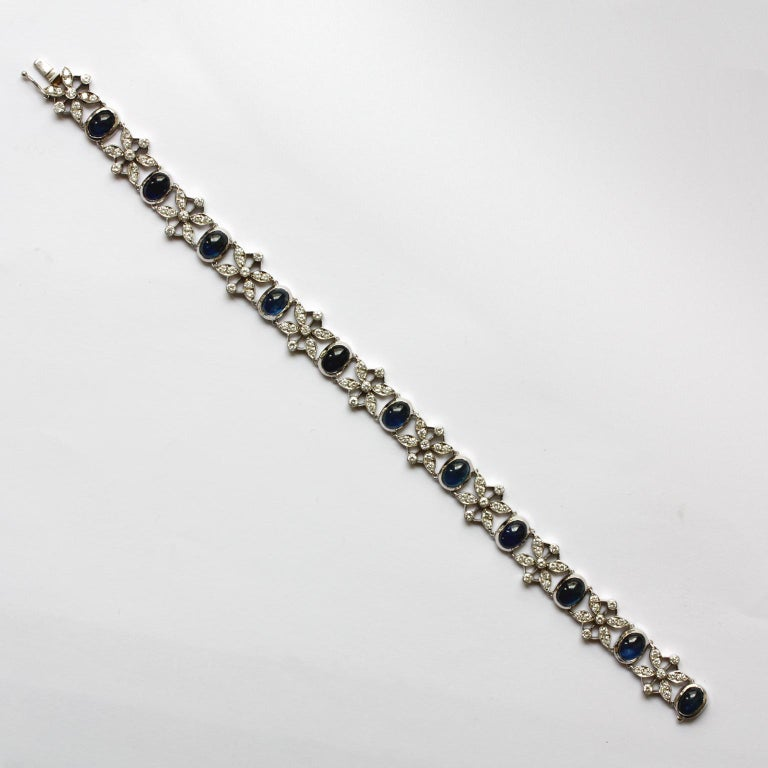 Cabochon White Gold Sapphire and Diamond Bracelet For Sale