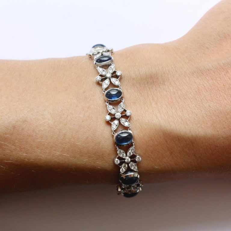 White Gold Sapphire and Diamond Bracelet For Sale 1