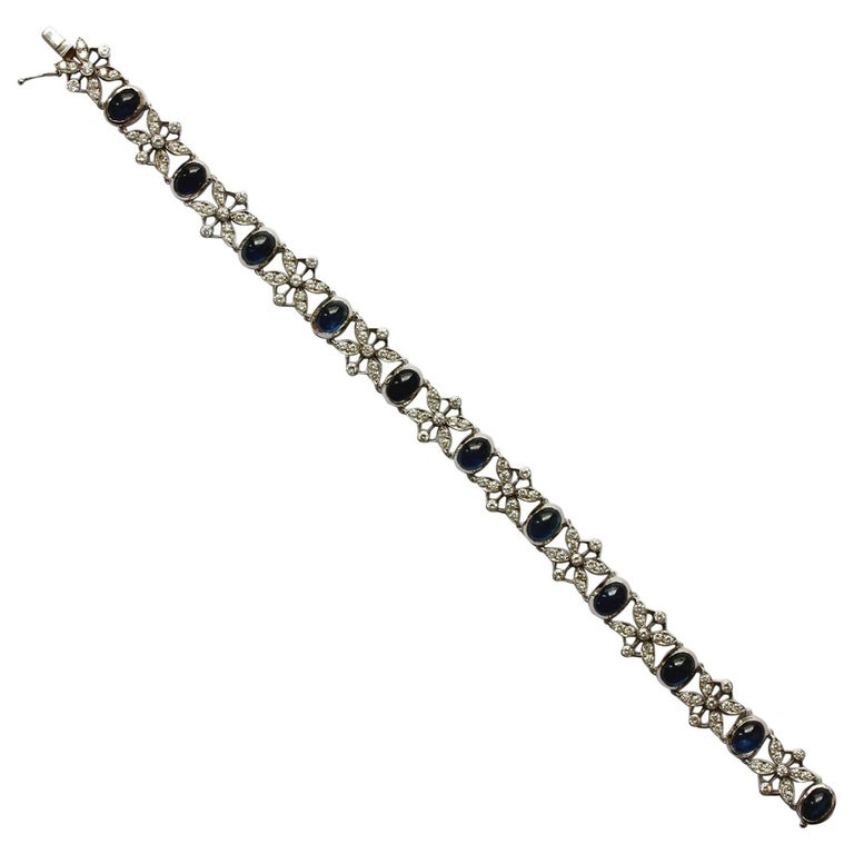 White Gold Sapphire and Diamond Bracelet For Sale