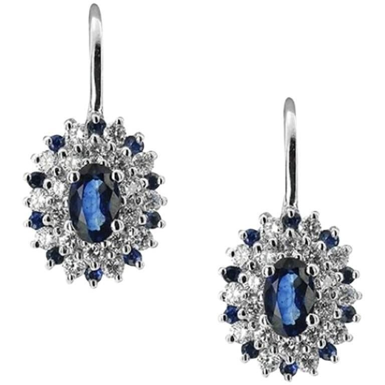 Oval Cut White Gold Sapphire and Diamond Earrings For Sale