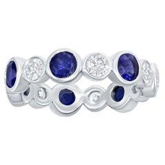 White Gold Sapphire and Diamond Eternity Bezel Ring
