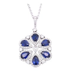 White Gold Sapphire and Diamond Floral Pendant Necklace