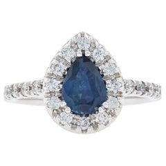 White Gold Sapphire and Diamond Halo Ring, 14 Karat Pear Cut 1.54 Carat