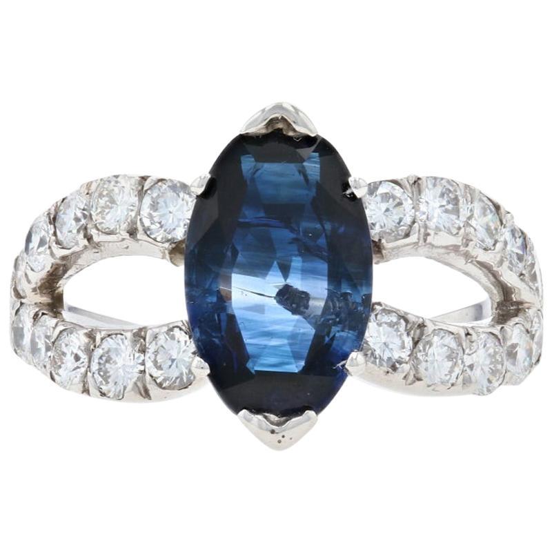 White Gold Sapphire and Diamond Ring, 14 Karat Modified Oval Cut 3.84 Carat