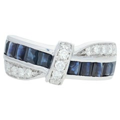 White Gold Sapphire and Diamond Ring, 18 Karat Square 2.00 Carat Crossover Bow