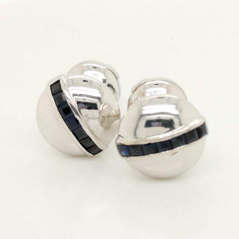 White Gold Sapphire Cufflinks In Good Condition For Sale In London, GB