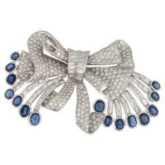 White Gold Sapphire Diamond Bow Pin