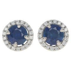 White Gold Sapphire & Diamond Halo Stud Earrings, 14k Round Cut 1.34ctw Pierced