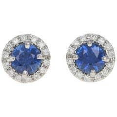 White Gold Sapphire and Diamond Halo Stud Earrings, 14k Round Cut .72ctw Pierced
